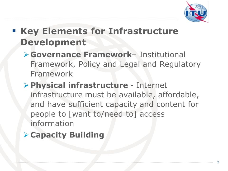 Key Elements for Infrastructure Development