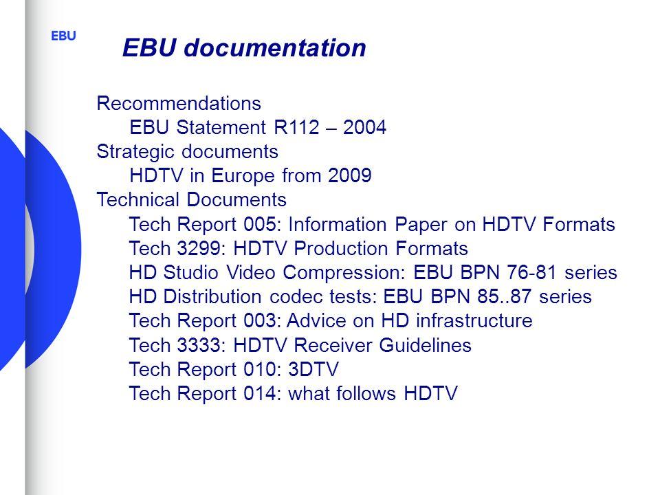 EBU documentation Recommendations EBU Statement R112 – 2004