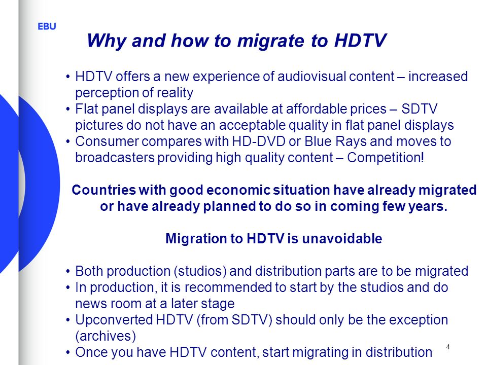 Migration to HDTV is unavoidable