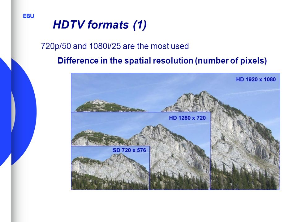 HDTV formats (1) 720p/50 and 1080i/25 are the most used