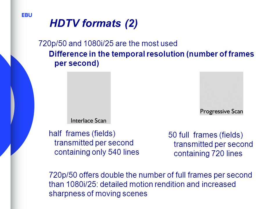 HDTV formats (2) 720p/50 and 1080i/25 are the most used