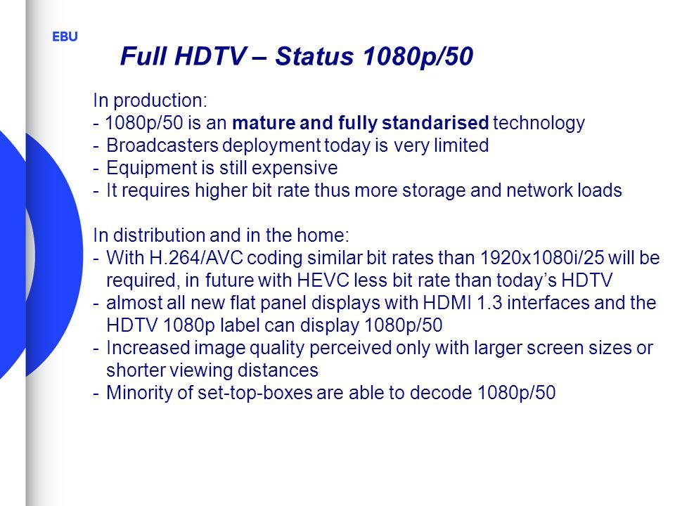 Full HDTV – Status 1080p/50 In production:
