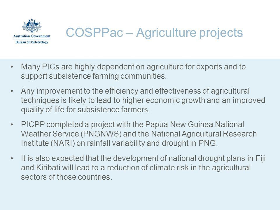 COSPPac – Agriculture projects