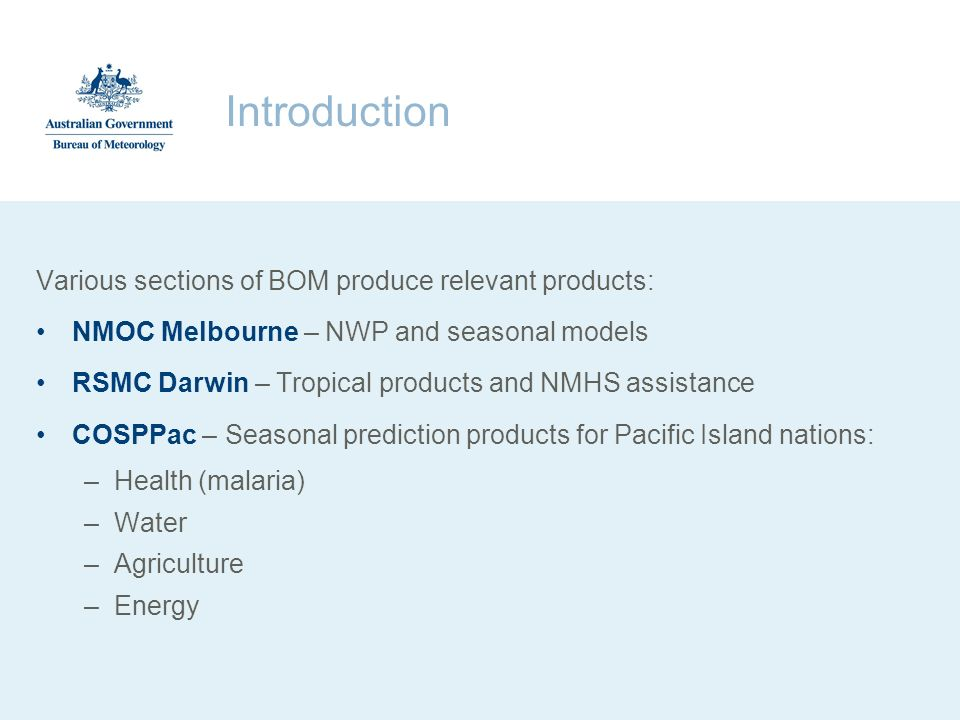 Introduction Various sections of BOM produce relevant products: