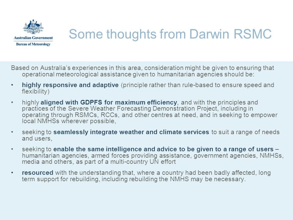 Some thoughts from Darwin RSMC