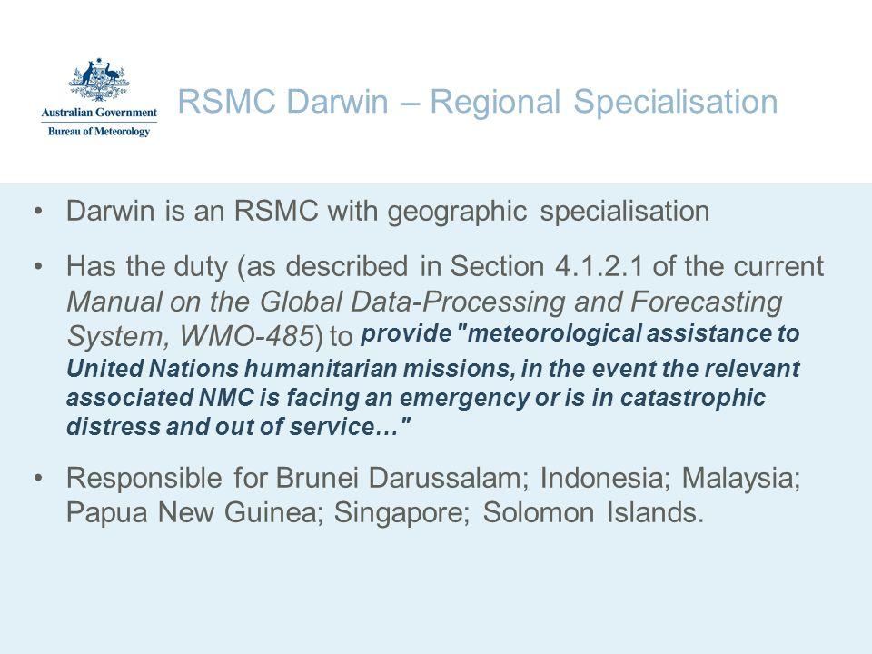 RSMC Darwin – Regional Specialisation