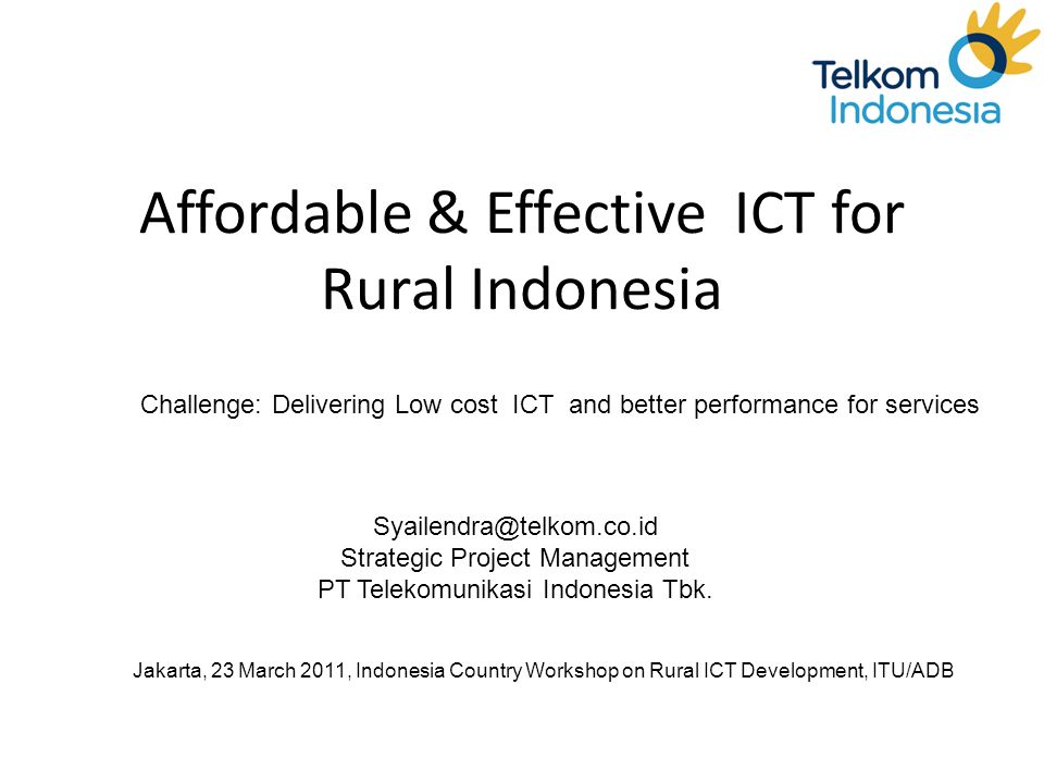 Affordable & Effective ICT for Rural Indonesia
