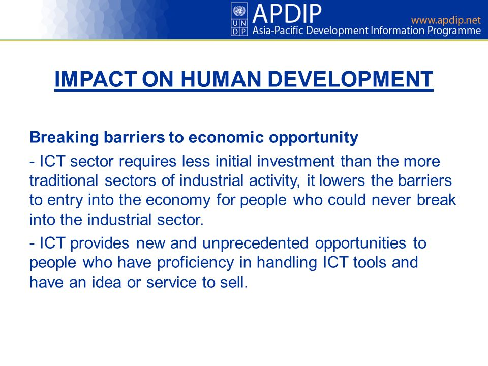 IMPACT ON HUMAN DEVELOPMENT