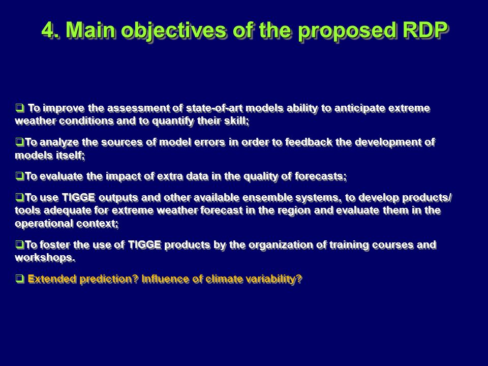 4. Main objectives of the proposed RDP