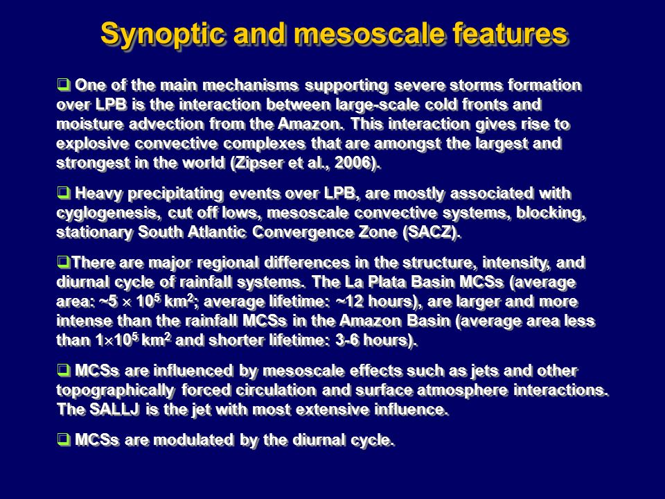 Synoptic and mesoscale features