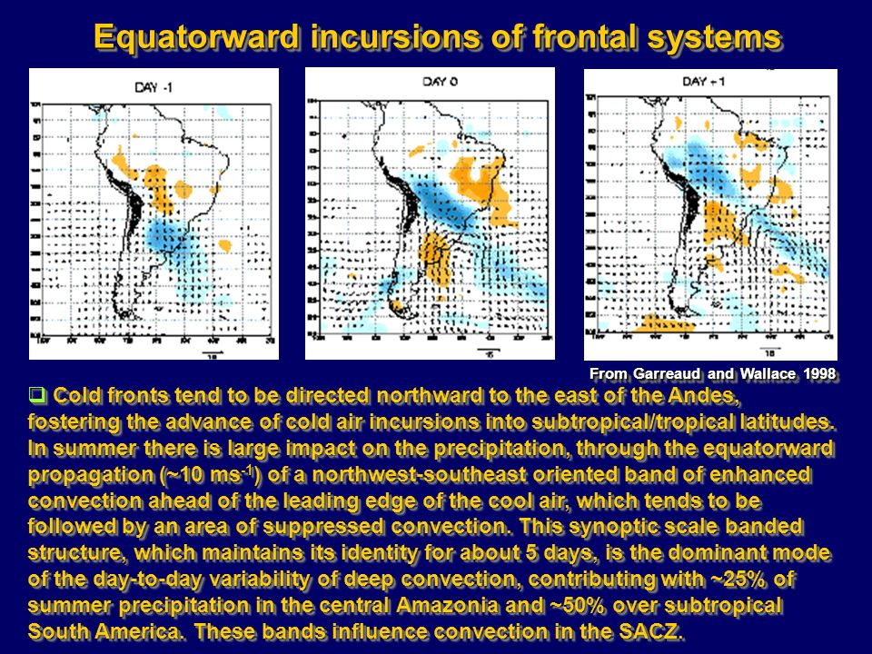 Equatorward incursions of frontal systems