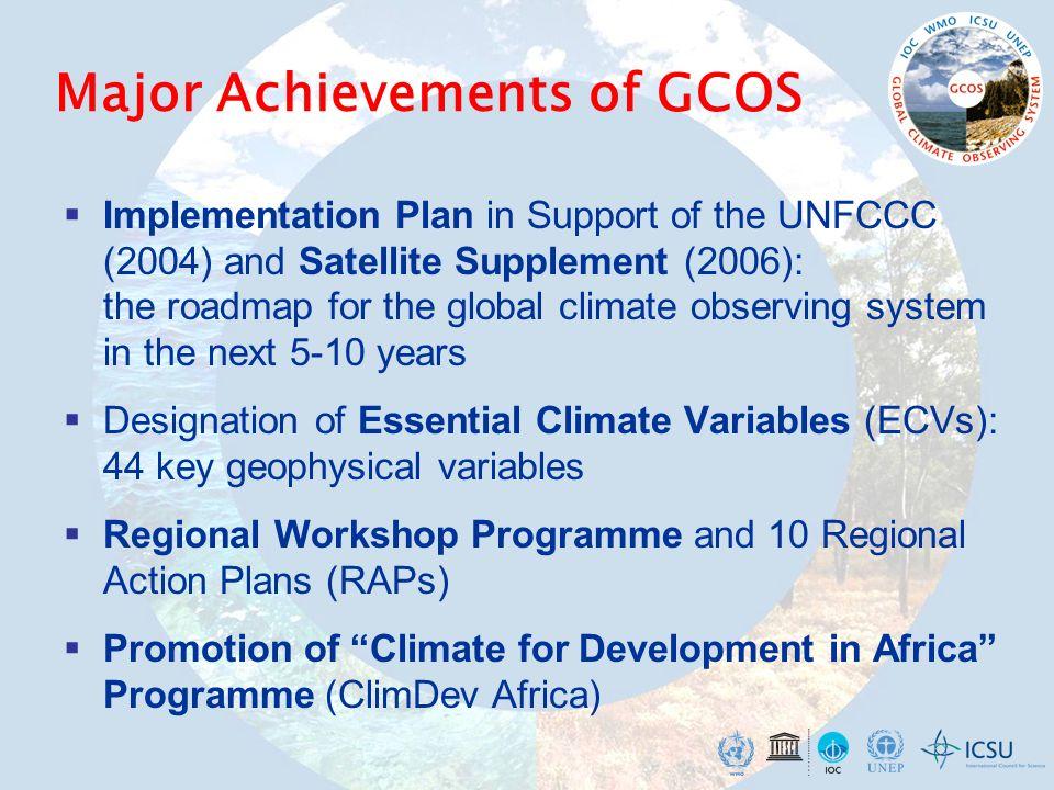 Major Achievements of GCOS