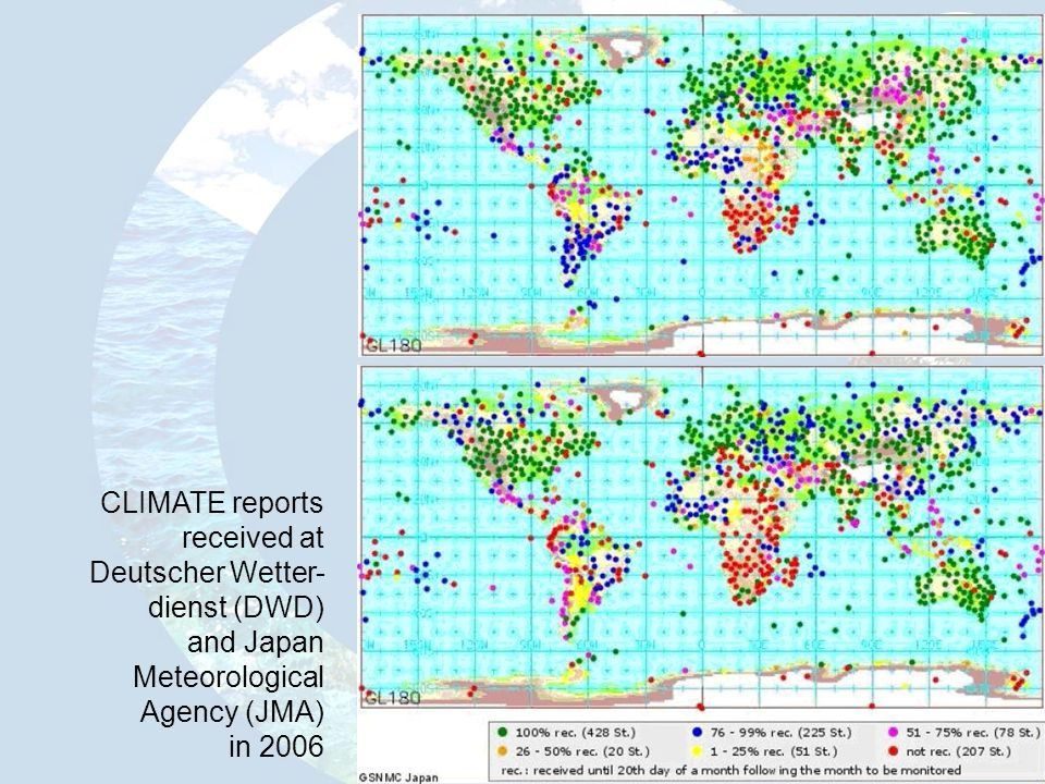 CLIMATE reports received at. Deutscher Wetter- dienst (DWD) and Japan. Meteorological. Agency (JMA)