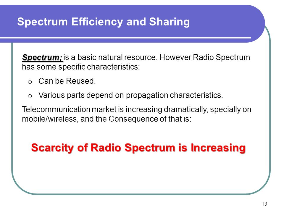 Spectrum Efficiency and Sharing