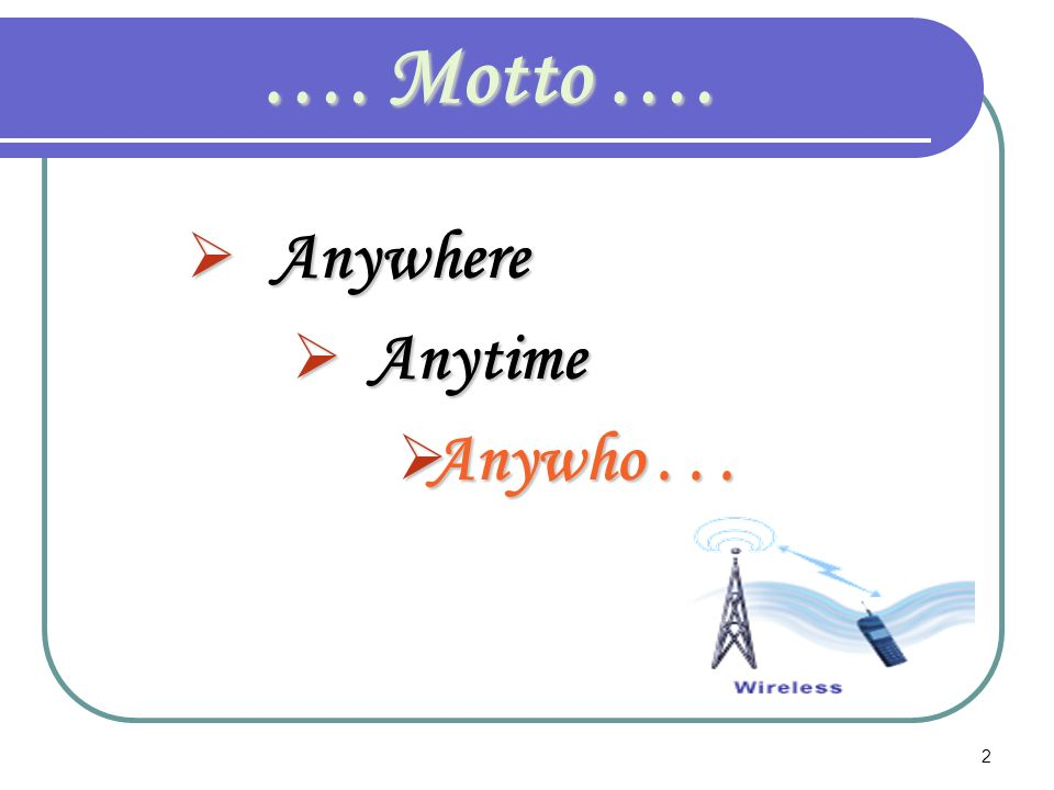 …. Motto …. Anywhere Anytime Anywho . . .