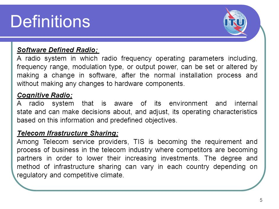 Definitions Software Defined Radio;
