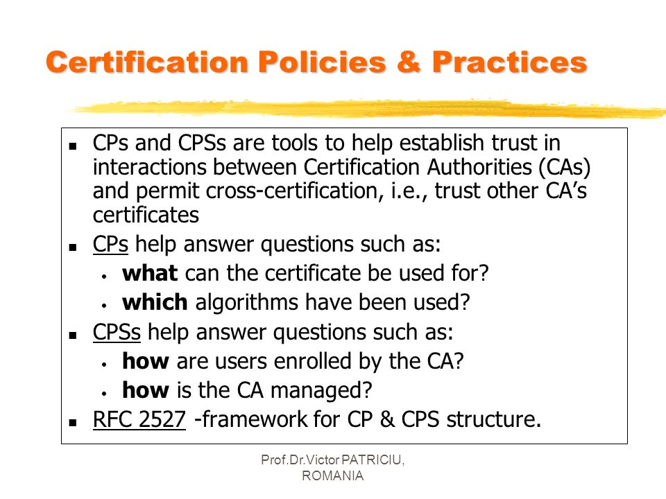 Certification Policies & Practices