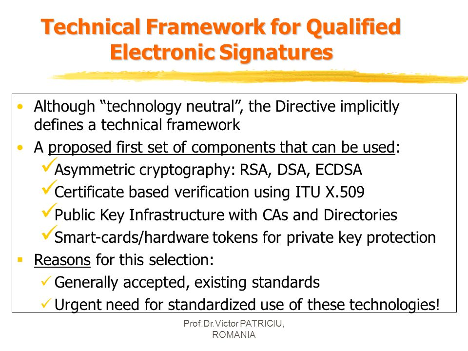 Technical Framework for Qualified Electronic Signatures