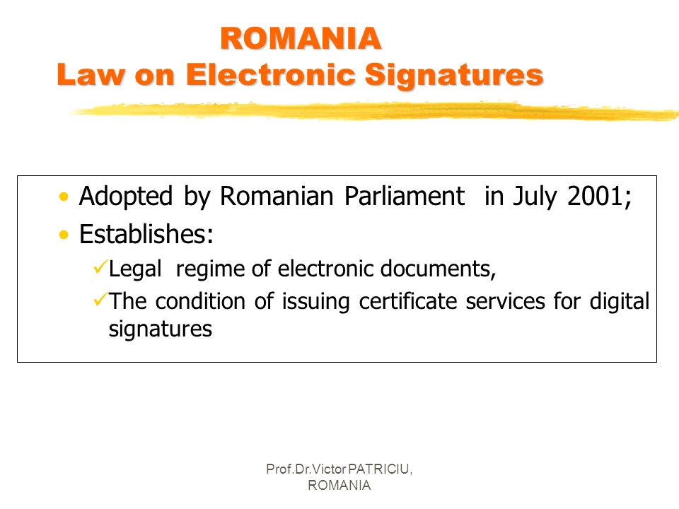 ROMANIA Law on Electronic Signatures