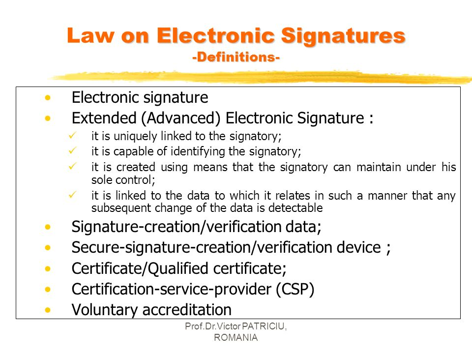 Law on Electronic Signatures -Definitions-