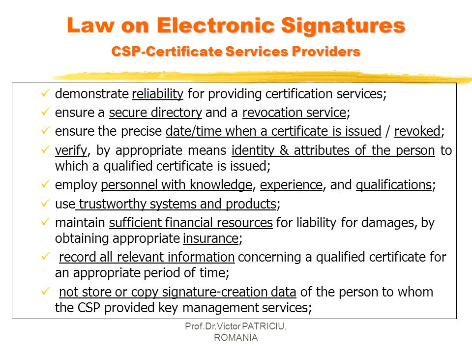 Law on Electronic Signatures CSP-Certificate Services Providers
