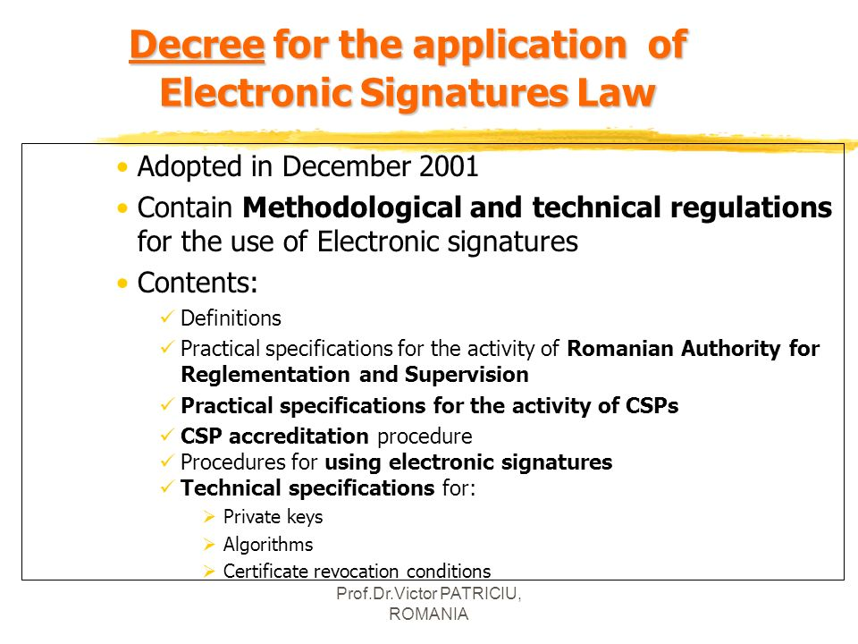 Decree for the application of Electronic Signatures Law