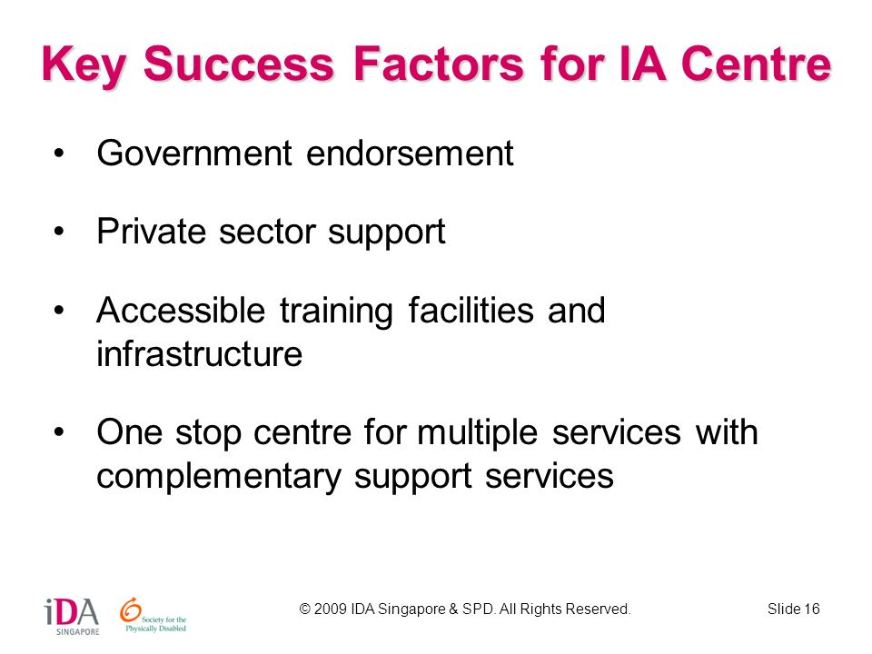 Key Success Factors for IA Centre