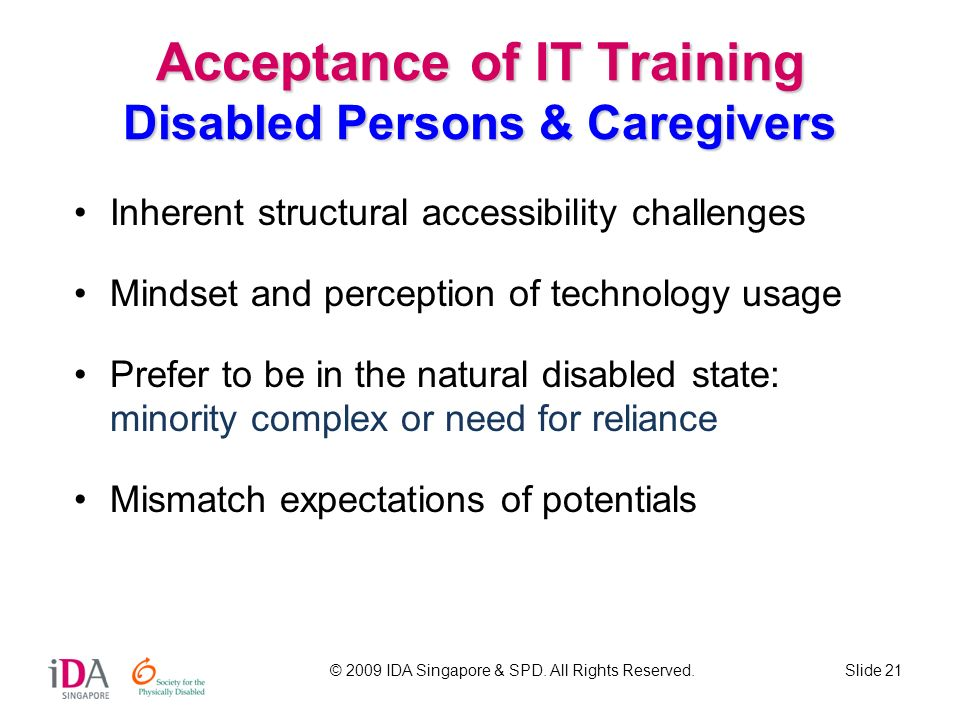 Acceptance of IT Training Disabled Persons & Caregivers