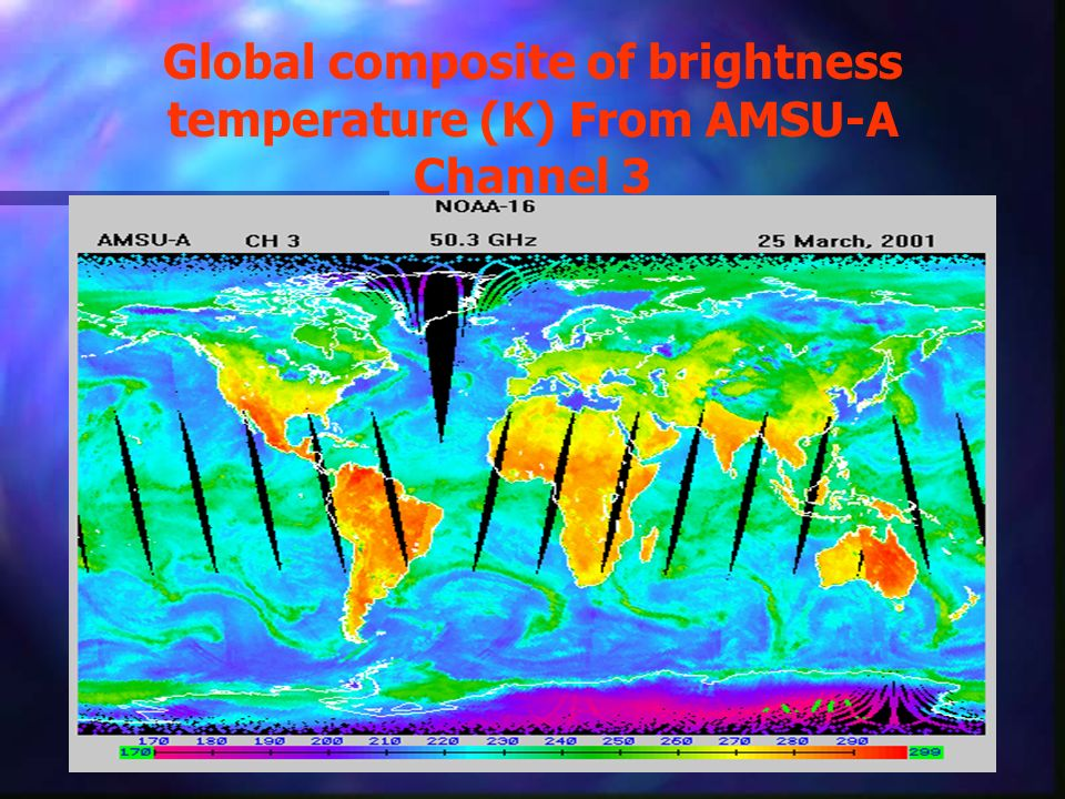 Global composite of brightness temperature (K) From AMSU-A Channel 3