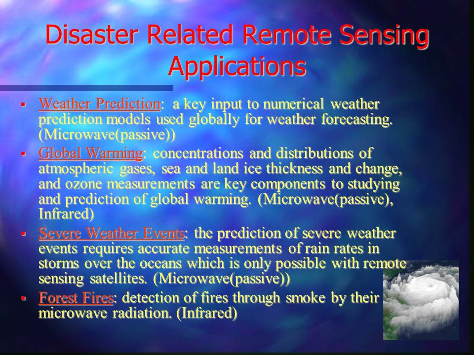 Disaster Related Remote Sensing Applications