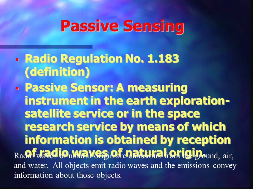 Passive Sensing Radio Regulation No. 1.183 (definition)