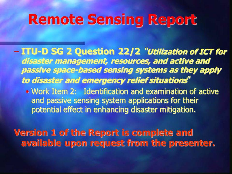 Remote Sensing Report