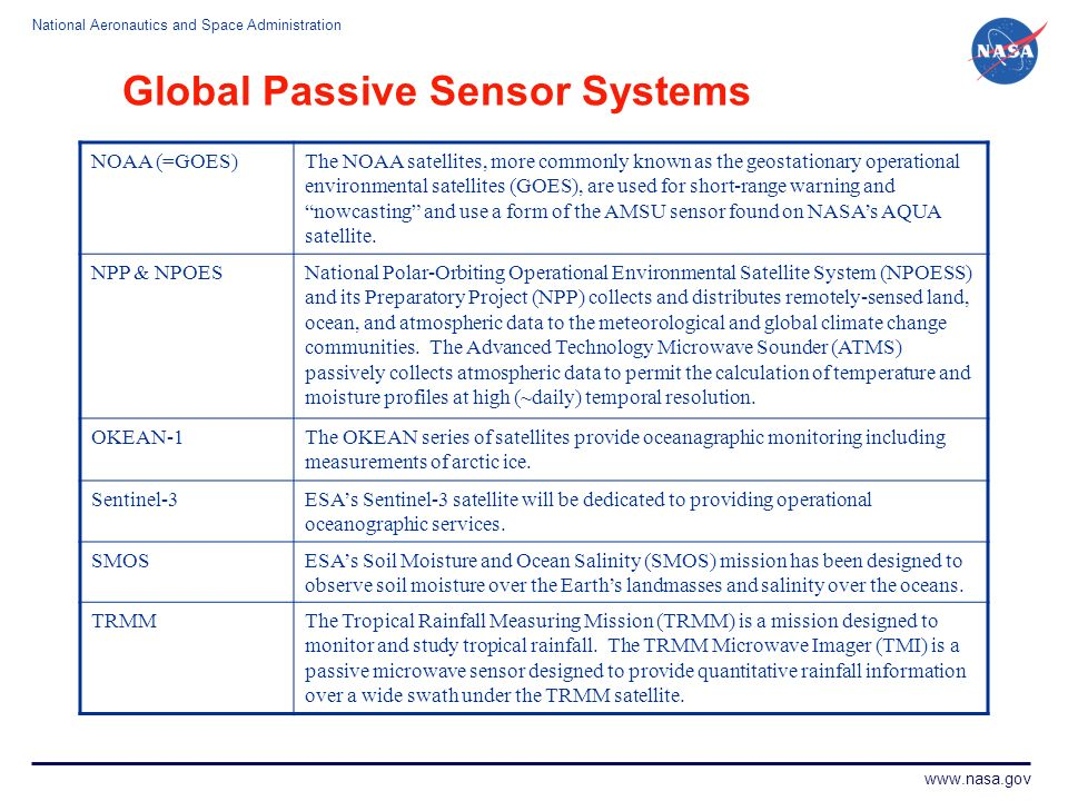Global Passive Sensor Systems