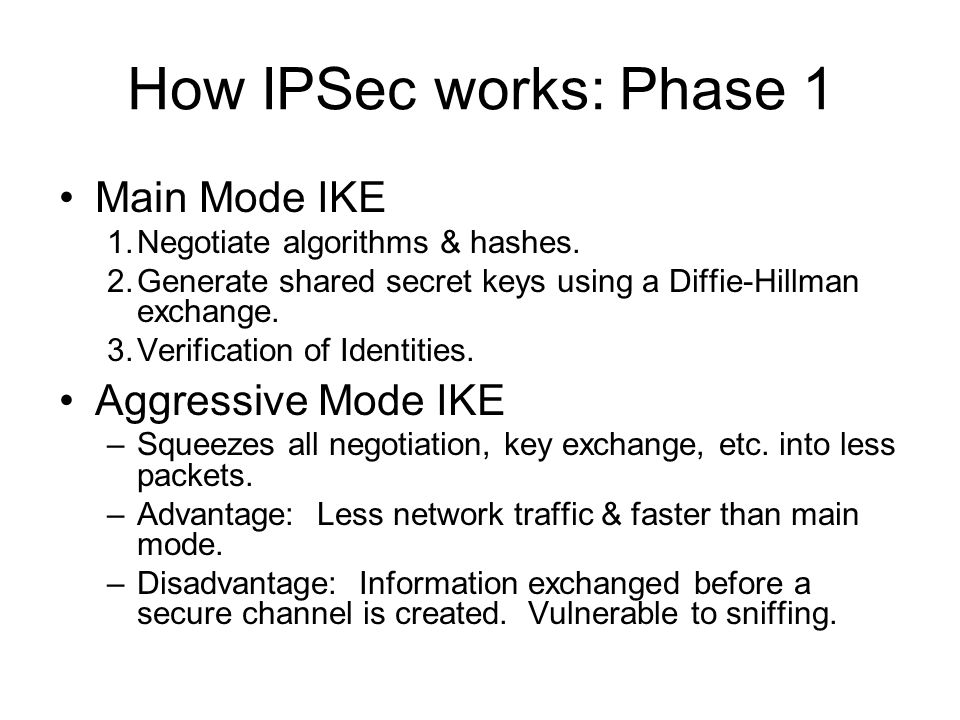 How IPSec works: Phase 1 Main Mode IKE Aggressive Mode IKE