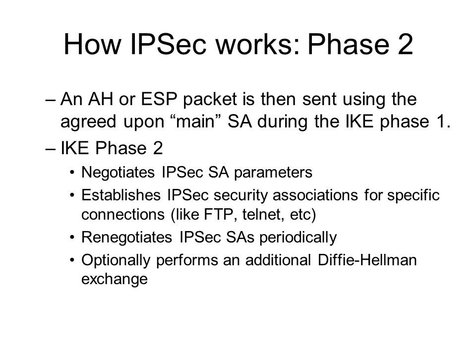 How IPSec works: Phase 2 An AH or ESP packet is then sent using the agreed upon main SA during the IKE phase 1.