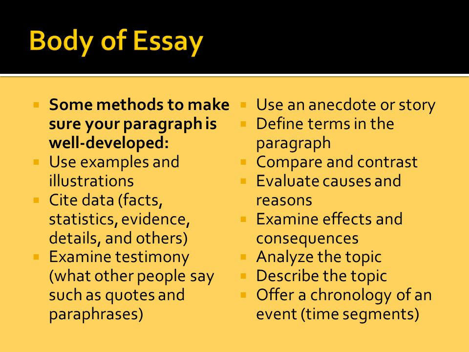 body of essay example Body image refers to a person's self-perception of his or her body type and body size this example body image essay is published for educational and.