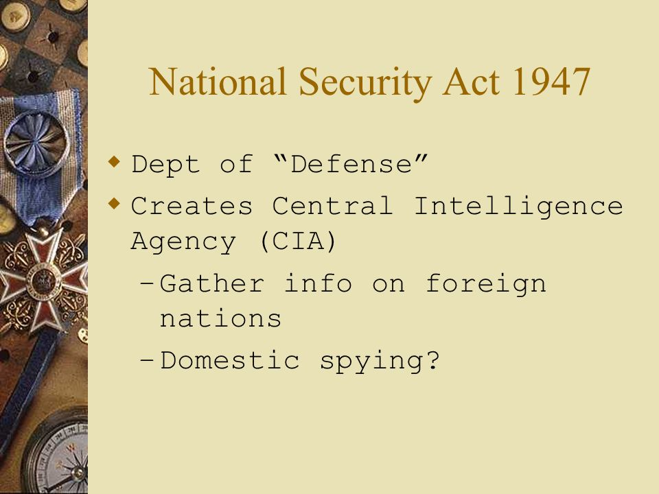 National Security Act 1947 Dept of Defense
