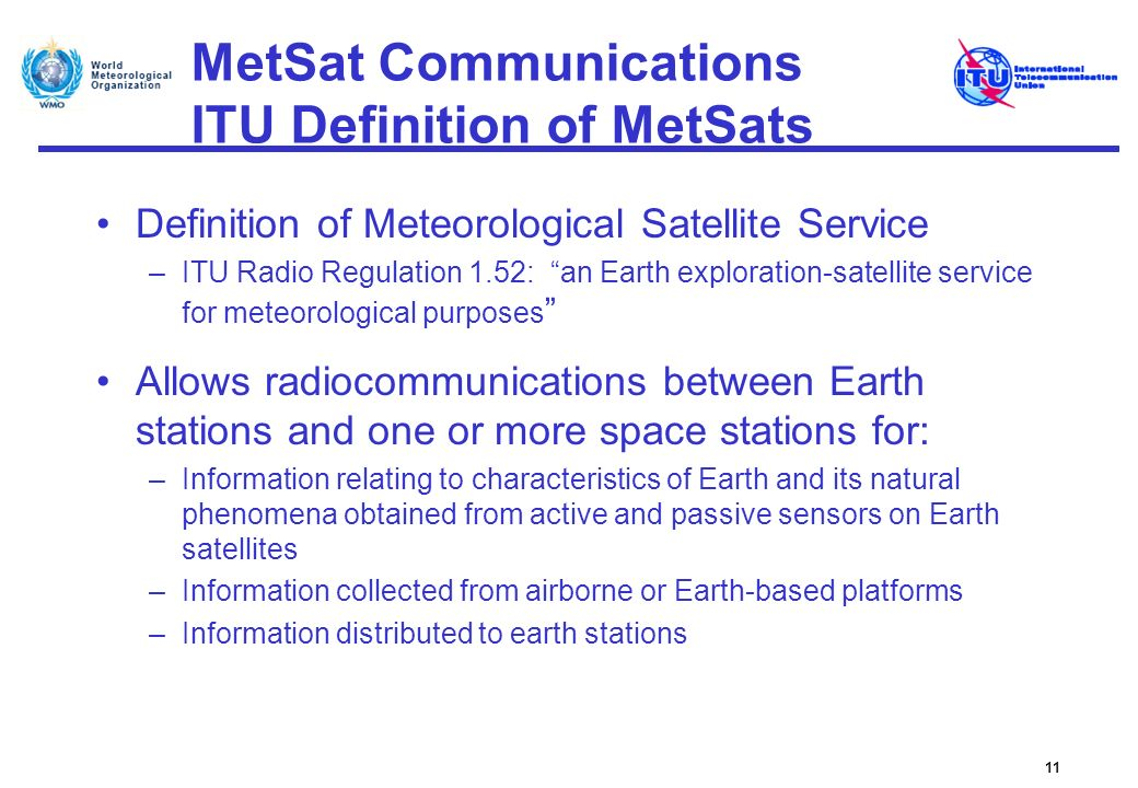 MetSat Communications ITU Definition of MetSats