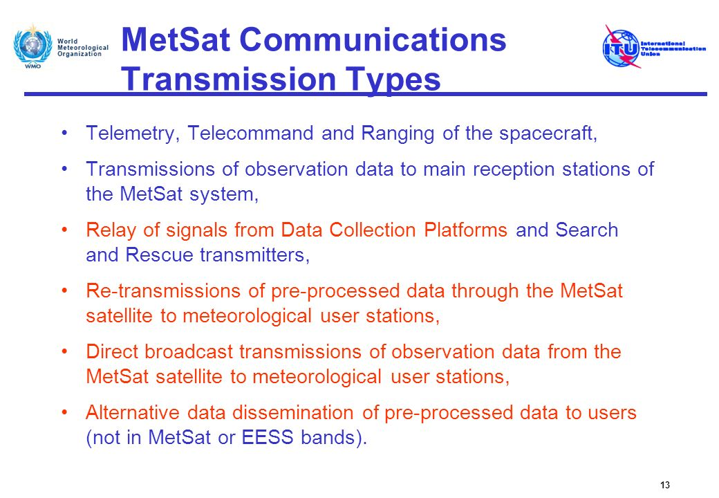 MetSat Communications Transmission Types