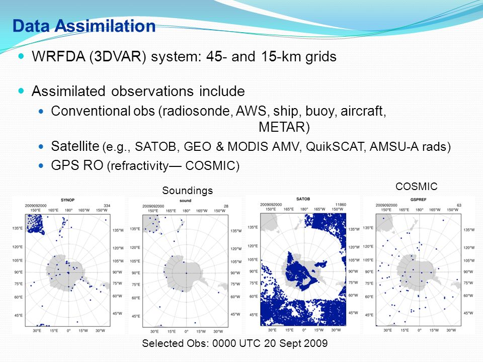 Data Assimilation WRFDA (3DVAR) system: 45- and 15-km grids
