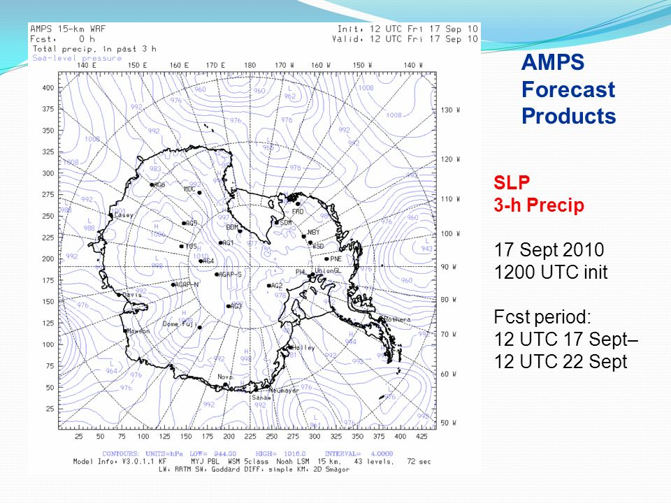 AMPS Forecast Products SLP 3-h Precip 17 Sept 2010 1200 UTC init