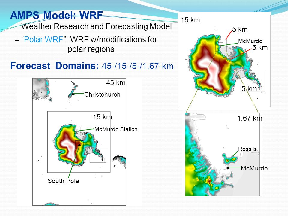 AMPS Model: WRF Forecast Domains: 45-/15-/5-/1.67-km