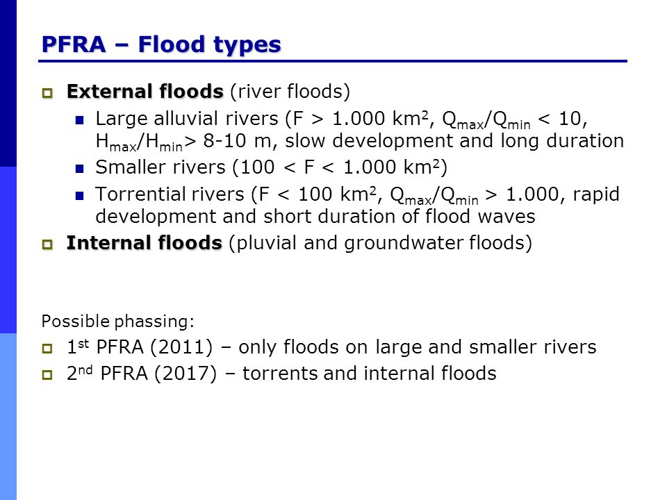 PFRA – Flood types External floods (river floods)