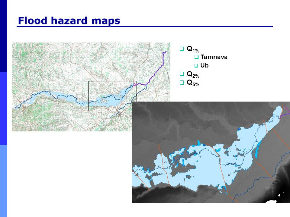 Flood hazard maps Q1% Tamnava Ub Q2% Q5%