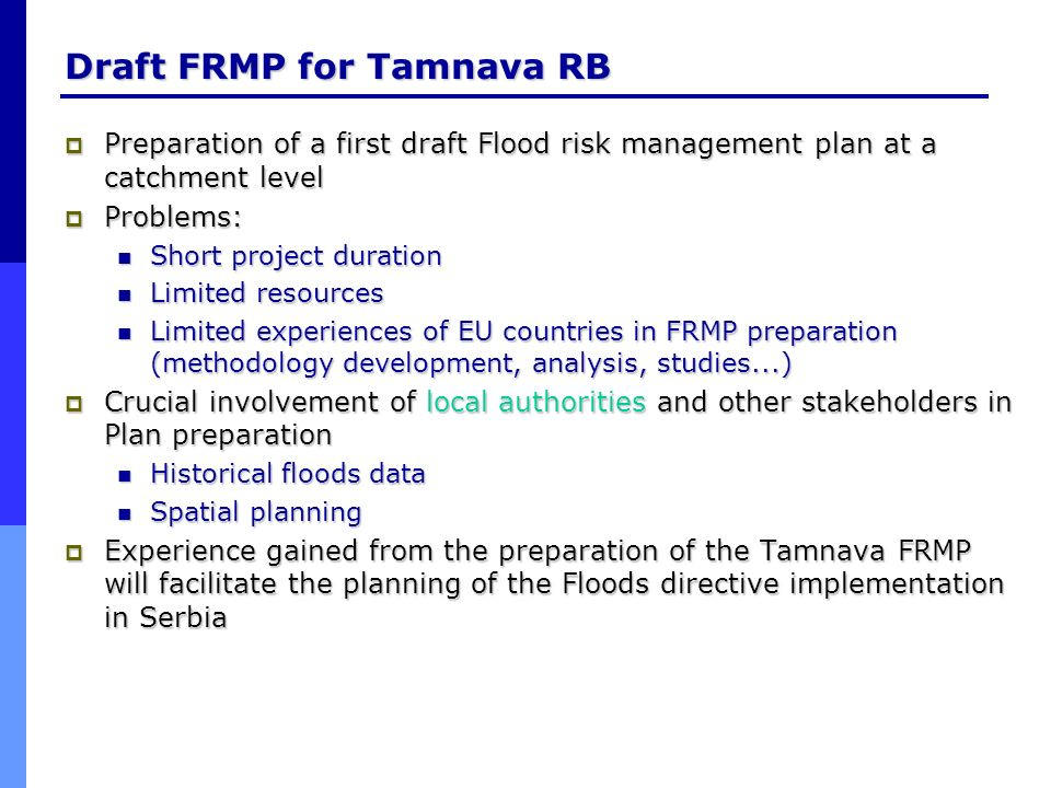 Draft FRMP for Tamnava RB