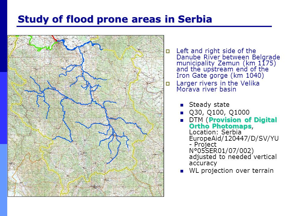 Study of flood prone areas in Serbia