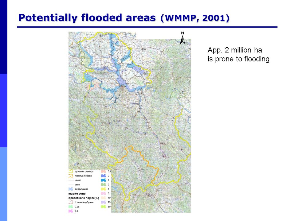 Potentially flooded areas (WMMP, 2001)
