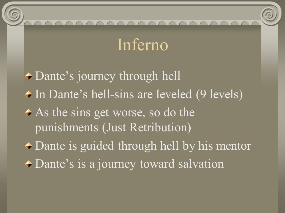 the punishment for every sin in dantes inferno Questions about dante's the inferno   is their punishment too light, too heavy, or just right, by today's standards  the three basic categories of sin are.