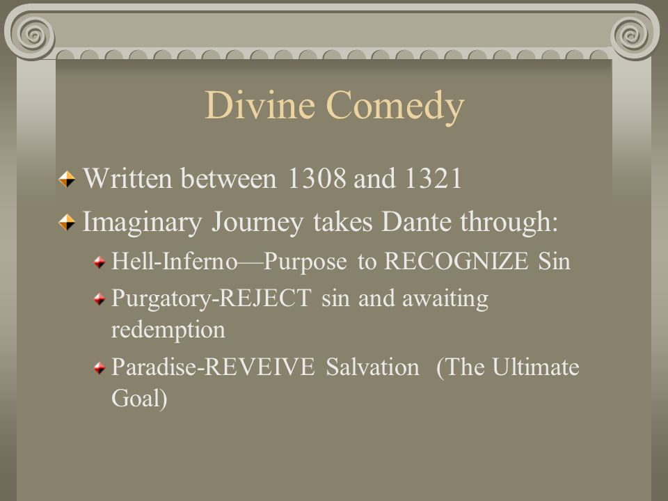 allegory of divine comedy In his divine comedy, the finest product of the middle ages, dante so carefully integrated the allegorical mode with whole design that it scarcelyseems to be allegory: the literal sense and the other senses are hard to distinguish.