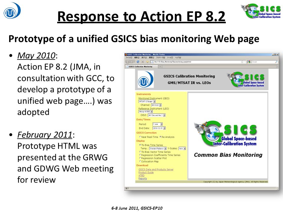 Response to Action EP 8.2 Prototype of a unified GSICS bias monitoring Web page.